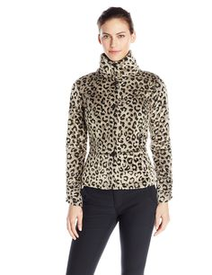 Hot Chillys Women's La Reina Print Jacket, Leopard Pewter, Large. Machine wash cold.