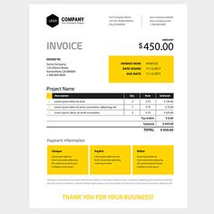 Invoice Template Design  In Yellow Color  Us Letter  Company