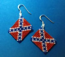 Rebel or Confederate Flag Beaded Earrings by LindaKBeaded on Etsy