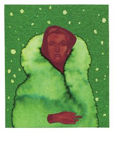 Title: Ernestine: Mean in Green Fur.  - High Quality Giclee Colour Print. - Printed Image on A3 250gsm acid free, off-white lightly textured cartridge