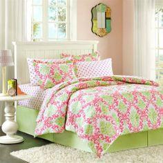 Girly Green and Pink Damask Bedding set
