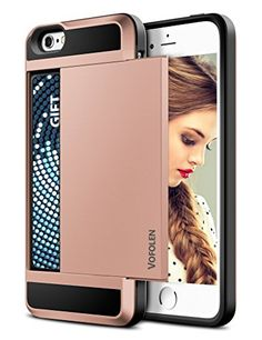 iPhone 5S Case iPhone 5 Case Vofolen Impact Resistant iPhone 5S Wallet Case Hybrid Armor Snapon Black Soft Rubber Bumper Cover Protective Shell Card Holder for iPhone 5 5S  Rose Gold * To view further for this item, visit the image link. Note: It's an affiliate link to Amazon