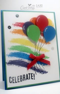 Super Diy Kids Birthday Cards Stampin Up Ideas Tarjetas Stampin Up, Stampin Up Cards, Rainbow Card, Rainbow Colors, Karten Diy, Up Balloons, Rainbow Balloons, Kids Birthday Cards, Diy Birthday