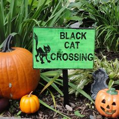 Black Cat Crossing Wooden Sign by CurioObscurio on Etsy, $19.00