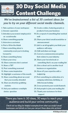 What Are 30 Quick Content Ideas To Try On Your Different Social Media Channels? #infographic