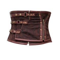 CD-465 - Brown Brocade Underbust Corset with Zip Detail - Made To Order - STEAMPUNK - 2012 Collection!