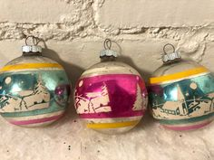 Vintage Shiny Brite Winter Church Scene Stencil Mercury Glass Christmas Ornaments by Vintaglectible on Etsy Antique Christmas Ornaments, Vintage Ornaments, Vintage Christmas Cards, Vintage Decorations, Glass Christmas Balls, Christmas Bulbs, Christmas Decorations, Xmas, Simple Christmas