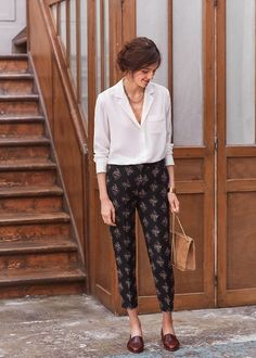 Printed pants and crisp white shirt