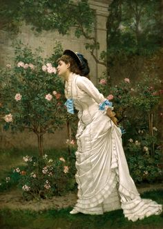 """Auguste Toulmouche, """"A Girl and Roses"""", 1879. Via Sterling and Francine Clark Art Institute."""