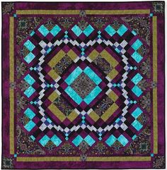 """Gothic Medallion, 49"""" x 49"""", designed and pieced by Maggie Ball, machine quilted by Wanda Rains."""