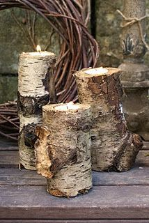 Birch candle holders, these are wonderful and rustic. id like huge log benches and side tables to go with them! Might have to settle for Oak :)