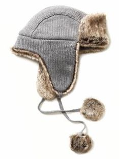 knit faux fur trapper hat - i need to see if i can fashion one of these...