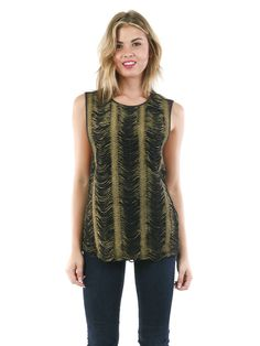Fringe Detail Tank Top from #TheSnookiShop $30.80 -- gold foil fringe on the tank adds dimension with an avant-garde flair