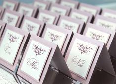 Hochzeitskarten - 10x Tischkarten Hochzeit Platzkarten Elegant Rosa - ein Designerstück von EinladungZurHochzeit bei DaWanda