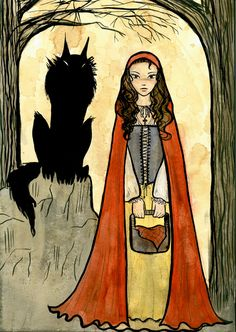 There's someone in the wolf Red Riding Hood Wolf, Little Red Ridding Hood, Fairytale Fantasies, Fairytale Art, Charles Perrault, Big Bad Wolf, Red Hood, Big Eyes, Werewolf