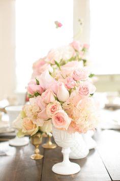 Summer Wedding, Dream Wedding, Gold Milk, Milk Glass Vase, Flower Centerpieces, Wedding Centerpieces, Wedding Flowers, Fuschia Wedding, Gold Wedding