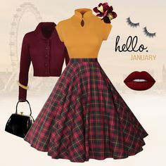 Hello January January calls for Tartan teamed with Mandarin Tops and toasty Jenny Cardigans. Mix and match our fabulous separates to create your ideal outfit. #vivienofholloway #voh #winter #winterstyle #winteroutfit #tartan #tartanskirt #tartancircleskirt #swingskirt #1950sskirt #january #januarystyle #januaryoutfit #vintagestyle #pinup #pinupgirl #pinupstyle #winterinspiration #madeinengland