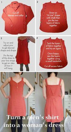 Turn a men's shirt into a woman's dress