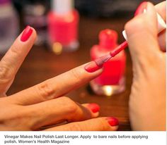 Great helpful apply vinager to nails prior to polishing to keep polish lasting longer.