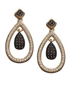Gold Double Crystal Teardrop Earrings