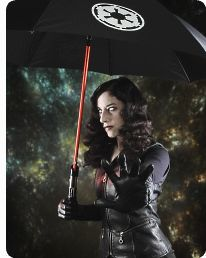 Lightsaber umbrellas! The force-cast is strong with this one.