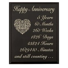 5th Wedding Anniversary Wall Plaque Gifts For 5 Year Her Fifth