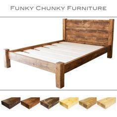 solid wooden chunky bed frame in a choice of sizes single double kingsize super king and rustic wax finishes with treble plank headboard