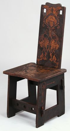Arts and Crafts pyrographic hall chair, c. 1910, 40 in. high