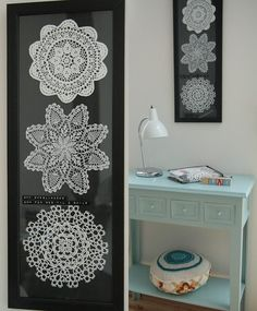 Unique Crochet wall art - what a great way to use grandpa's dresser doilies (sp?)
