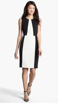 Professionelle: Faux Leather Trim Sheath Dress