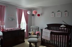 Nursery Dark Furniture Baby Sets Wood Pink And Gray