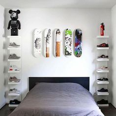 Simple DIY First Apartment Storage Ideas on A Budget - Page 39 of 50 Bedroom Setup, Room Ideas Bedroom, Bedroom Decor, Ikea Boys Bedroom, Bedroom Designs, Hypebeast Room, Shoe Room, Room Inspiration, Shelves