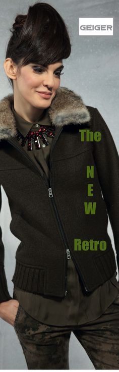 GEIGER FW 14/15 City-Chic Collection: Retro-inspired eco-boiled-wool zip bomber with rabbit fur collar. Style 65030