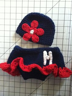 Ole Miss diaper cover with matching hat
