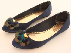 Blue Satin Ballet Flats  Navy Blue Flats  Feather Shoes  by oldmoe, $38.00