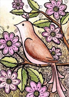 Brown Bird, Pink Flowers