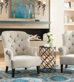 Hailey Tufted Chair - this would work with the new bedroom suit. Affordable Furniture, Cool Furniture, Furniture Ideas, Couch With Ottoman, Tufted Chair, Armchair, Home Design Living Room, Red Rooms, Home Decor Accessories