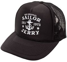 SAILOR JERRY TRUCKER HAT BLK  Update that old hat with a new one from Sailor Jerry! This solid black trucker hat features the iconic Original Sailor Jerry & anchor logo printed in the center.  $20.00