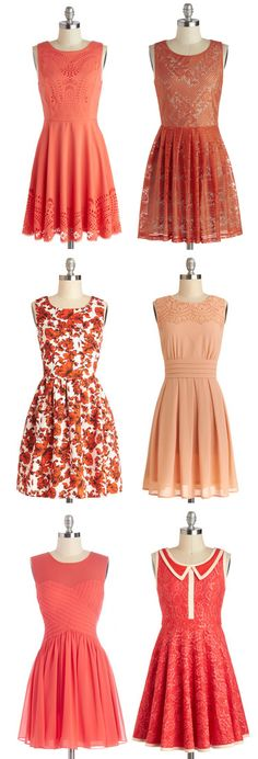 Beautiful Dresses in Coral, Peach, Pink, Orange, Floral, and more! These dresses would all be adorable by themselves, or paired with warm tights, a sweater, heeled boots, a hat, scarf, and cute hair! #dress #coral #peach #pink #event #wedding #date #party #school