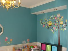 Sarah's playroom decorated with RoomMates wall decals