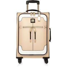 River Island Beige color block suitcase ($150) ❤ liked on Polyvore featuring bags, luggage, bags / purses, beige and women