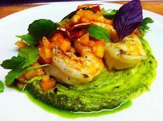 Grilled Shrimp with Avocado Pesto and Diced Melon | Dash of Savory