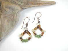 Island Beaded Dangle Earrings, Bronze Dyed Pearls, Nephrite Jade Rondelles, Tiny Spiral Umbonium Shells, Gift for August, Gift for Women by StoneJewelsByAng on Etsy