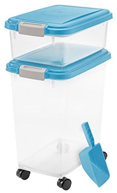 IRIS Airtight Pet Food Container Combo Kit, Blue Moon/Gray *** Click image for more details.