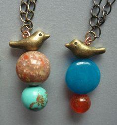 bird necklacebird pendant brass bird stone by vikalicious on Etsy