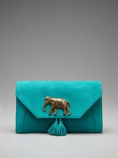 Eddera Aurelie Clutch with elephant in turquoise