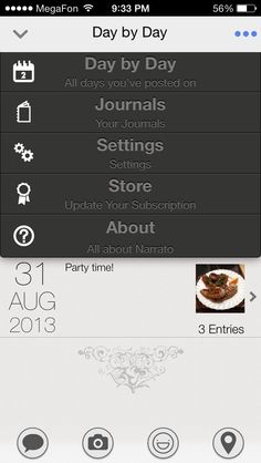 Narrato Journal #ios7 #flatui #menu