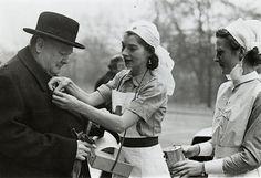 Winston Churchill with WWII nurses