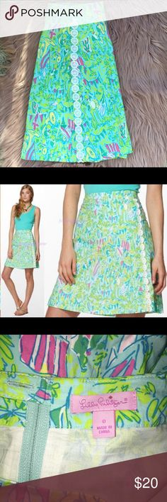 Lilly Pulitzer Sonia Skirt Skye blue Hops & pops pattern! Size 0 Lilly Pulitzer Skirts