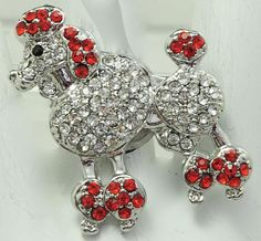 Rhinestone Poodle Ring/Red/Statement Ring/Dog Lovers